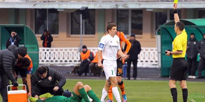 Эпизод матча в Полтаве, после которого Каниболоцкий не смог продолжить игру