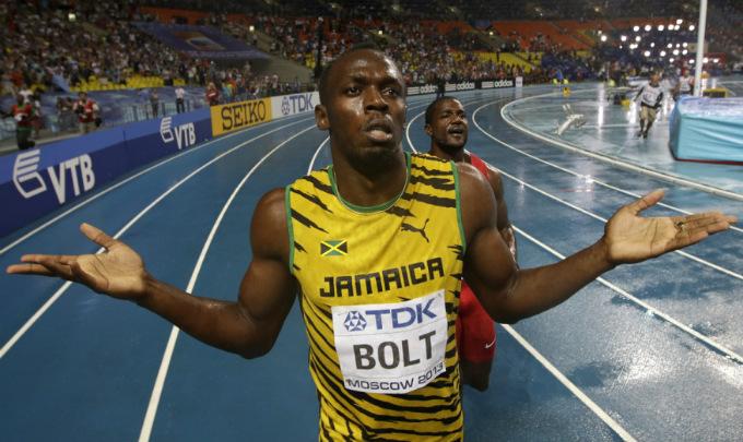 Усэйн Болт после победы на 100 метров