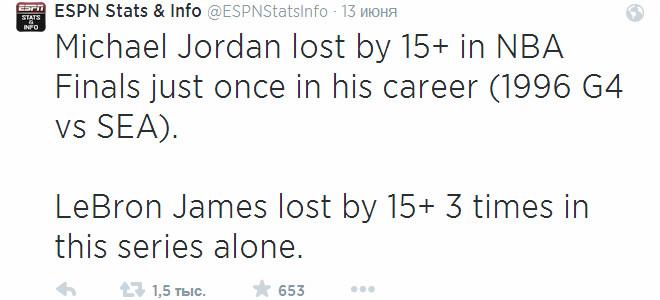 Джеймс в нынешнем финале трижды проиграл с разницей «+15» и более, Джордан в свою очередь лишь однажды за карьеру (игра №4 против «Сиэтла» в 1996-м)