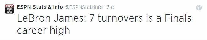 Даже комментировать сложно, особенно, если учесть, что ко всему прочему у Леброна помимо 7 потерь ещё и 5 фолов.