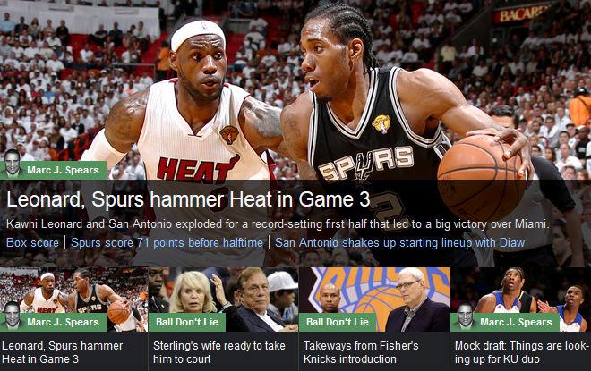 YahooSports!: «Спёрс» и Леонард забили «Хит»