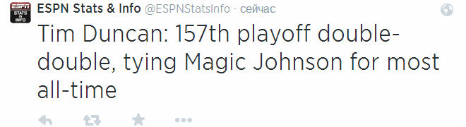 Тим Данкан оформляет свой 157-й дабл-дабл в плей-офф за карьеру и сравнивается с Мэджиком Джонсоном по этому показателю. Ещё один и он станет лучшим.