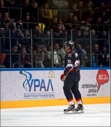 Александр Сёмин в своем дебютном матче в ВХЛ