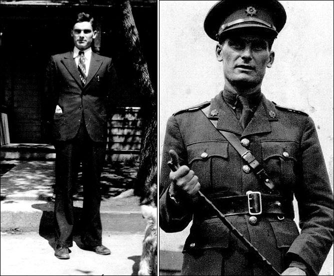 Гордон Джакс. Слева – во время журналистской карьеры в Меллвиле. Справа – во время Второй мировой войны