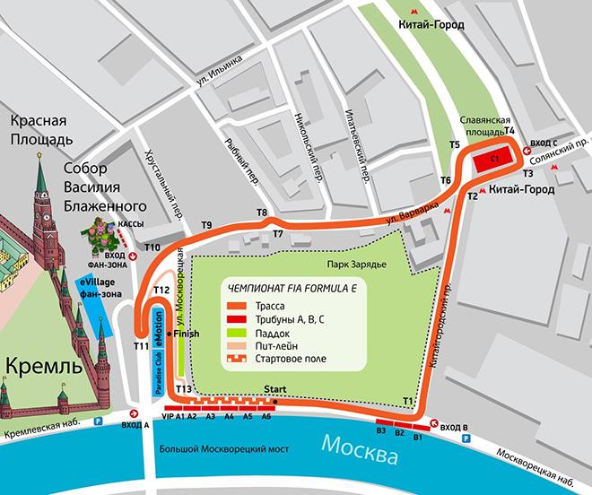 Схема трассы Формулы-Е в Москве