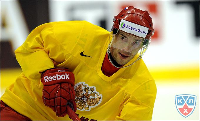 4 мая 2012 года. Стокгольм. Павел Дацюк на тренировке сборной России