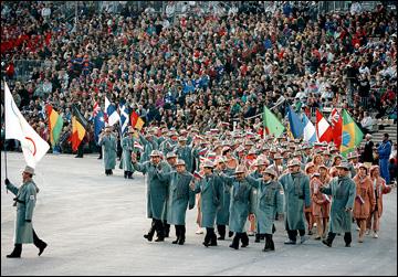 8 февраля 1992 года. Альбервиль. Церемония открытия XVI Зимних Олимпийских игр. Делегация Объединенной команды