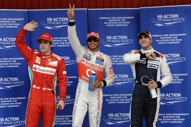 Алонсо, Хэмилтон и Мальдонадо после квалификации Гран-при Испании