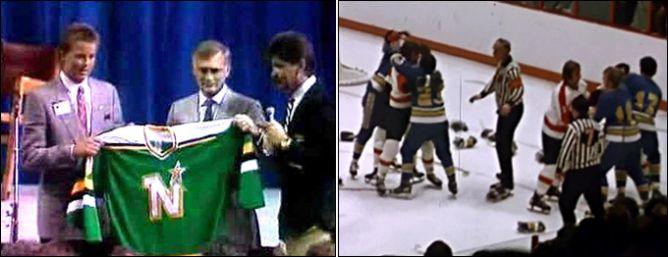 """Слева — драфт 1988 года. """"Миннесота"""" выбирает под № 1 Майка Модано. Справа — впервые руководство НХЛ объявило о решении бороться с драками."""