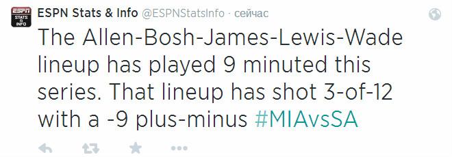 Пятёрка Уэйд, Аллен, Льюис, Джеймс, Бош провела в этой серии вместе всего 9 минут, реализовала 3 из 12 с игры.