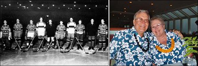 """Слева – """"Массачусетс Рейнджерс"""", чемпионы мира 1933 года, крайний слева – Джерри Косби. Справа – Косби с супругой, 1995 год"""