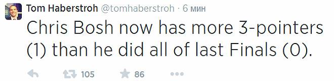 Криса Боша уже можно поздравить, он реализовал больше трёхочковых, чем за весь финал 2013-го.