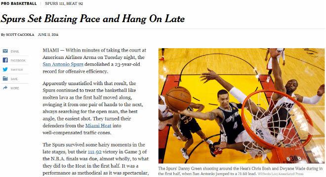 The New York Times: «Сан-Антонио» задал сумасшедший темп и не дрогнул в концовке»