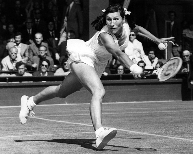Ольга Морозова в матче 1/4 финала Уимблдона-1974
