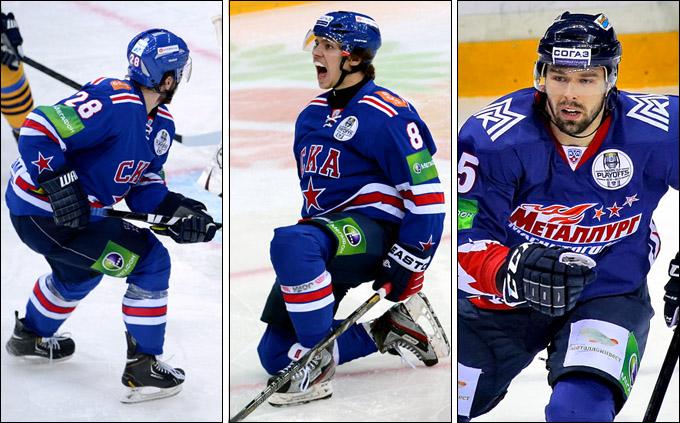 Слева направо: Михаил Варнаков, Артемий Панарин и Милан Гулаш