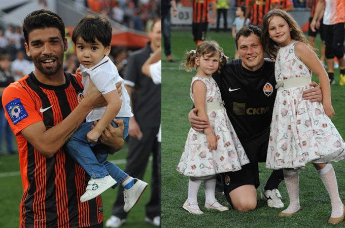 Эдуардо с сыном и Пятов с дочками
