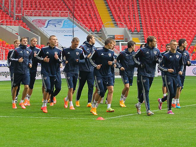 Тренировка сборной России на «Открытие Арена»