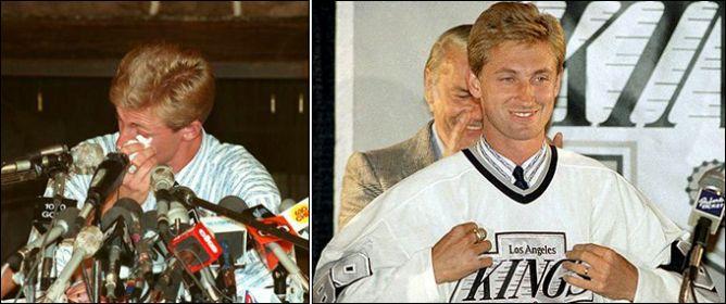Слева — прощальная пресс-конференция Гретцки в Эдмонтоне. Справа — презентация в Лос-Анжелесе.