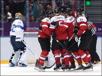 13 февраля 2014 года. Сочи. XXII зимние Олимпийские игры. Хоккей. Групповой этап. Финляндия — Австрия — 8:4. Австрийцы открывают счёт