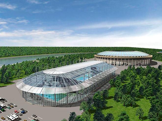 Так бы мог выглядеть открытый бассейн «Лужников», если бы Олимпиада вернулась в Москву через 32 года
