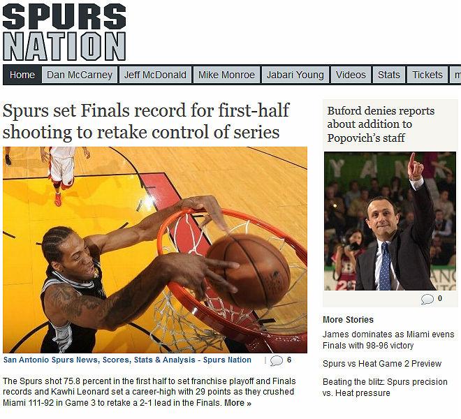 Spurs Nation: «Сан-Антонио установил рекорд результативности первых половин в финале и прибрал инициативу в серии к своим рукам»