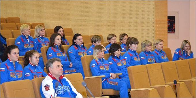 Встреча женской сборной России с Мутко и Третьяком