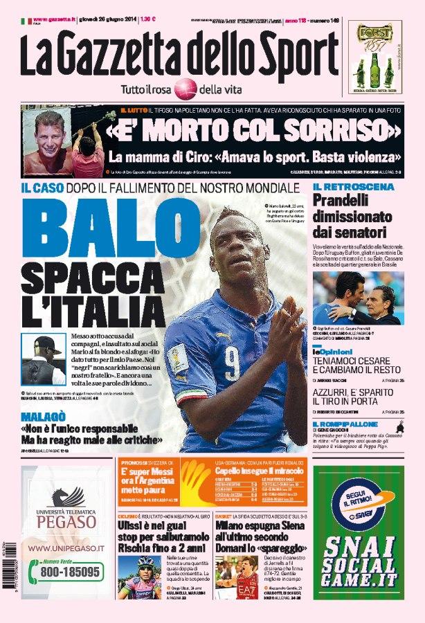 Обложка La Gazzetta dello Sport, посвящённая Марио Балотелли