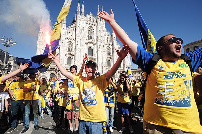 Все дни Финала четырёх повсюду в Милане звучали песни поддержки израильской команды