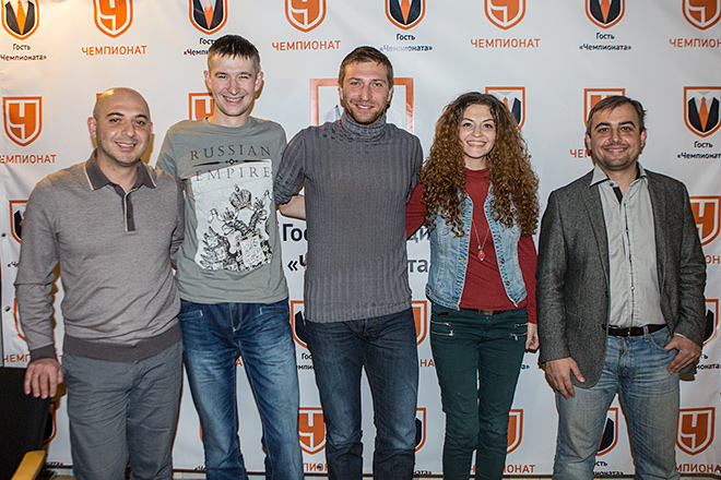 Слева направо: Самвел Авакян, Михаил Тяпков, Давид Юрченко, Надежда Мурзаханова и Денис Целых