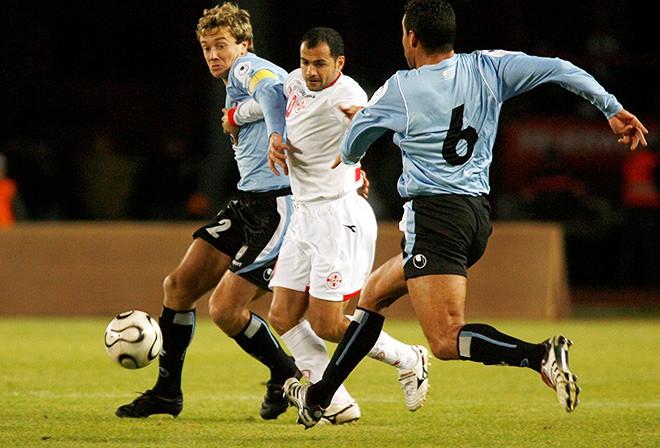 Капитан сборной Грузии Георгий Деметрадзе в игре против сборной Уругвая.