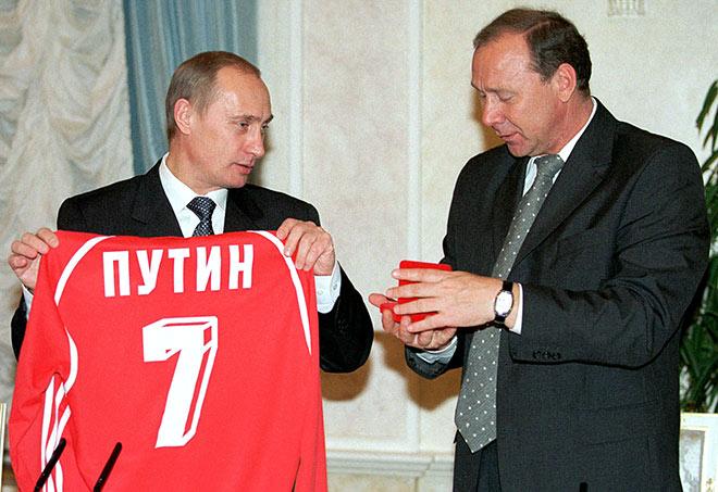 Владимир Путин и Олег Романцев