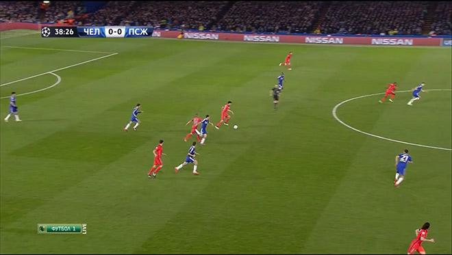 Матич (№21) не может выдвинуться на игрока с мячом из-за рывка на край Кавани, а пас идёт налево, на Максвелла