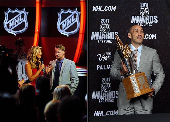 "Слева – лицо НХЛ грядущего сезона Стивен Стэмкос. Справа – Жан Лапперье с ""Билл Мастертон Трофи"""