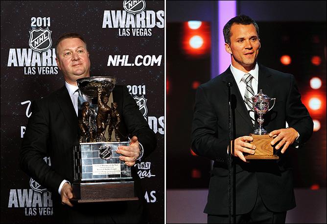 """Слева – Майк Гиллис, лучший генменеджер """"Ванкувера"""" и """"всея НХЛ"""". Справа – Мартин Сан-Луи с """"Леди Бинг Трофи"""""""