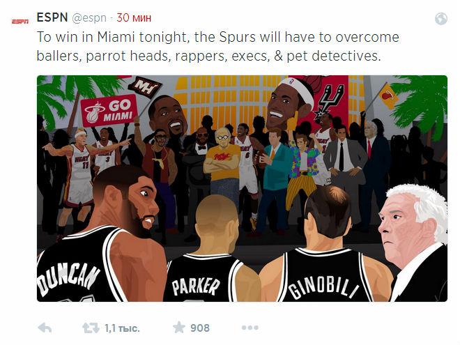 Чтобы победить в Майами баскетболистам «Сан-Антонио» придётся серьёзно попотеть, считают коллеги с ESPN.