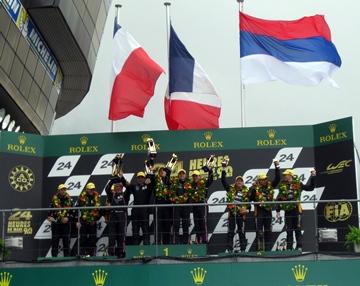 Экипаж G-Drive Racing на подиуме в классе LMP2