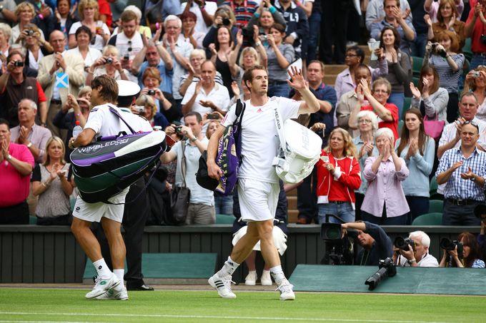 Четвертьфинал. Давид Феррер (Испания, 6) — Энди Маррей (Великобритания, 4) — 7:6 (7:5), 6:7 (6:8), 4:6, 6:7 (4:7)