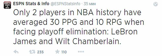 Лишь двум игрокам удавалось в истории собирать среднюю коллекцию из 30 очков и 10 подборов в играх «навылет»: Леброну Джеймсу и Уилту Чемберлену.