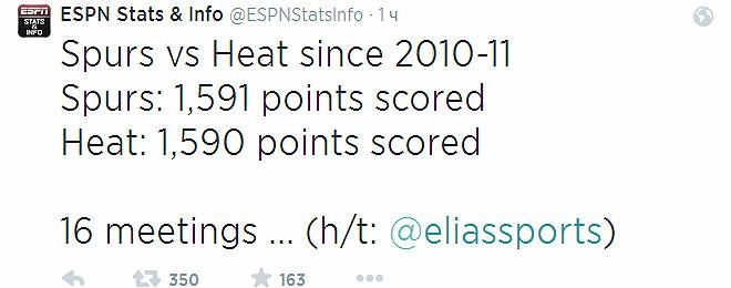 1591:1590 – таков счёт в 16 последних играх между «Сан-Антонио» и «Майами», начиная с сезона-2010/11.