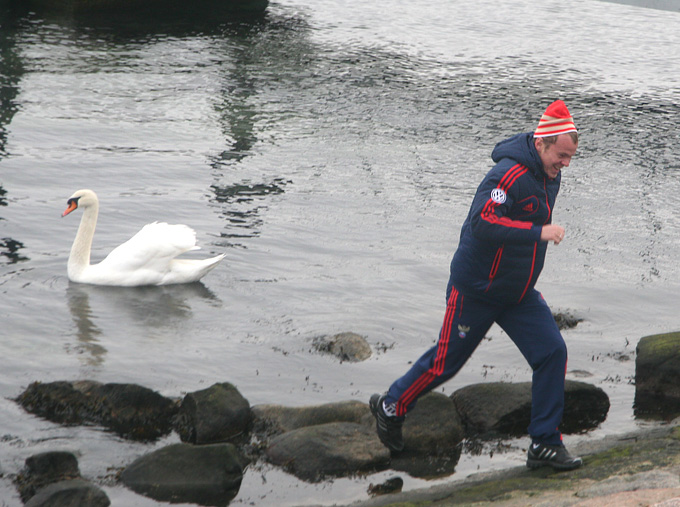 Александр Анюков с симпатичным лебедем