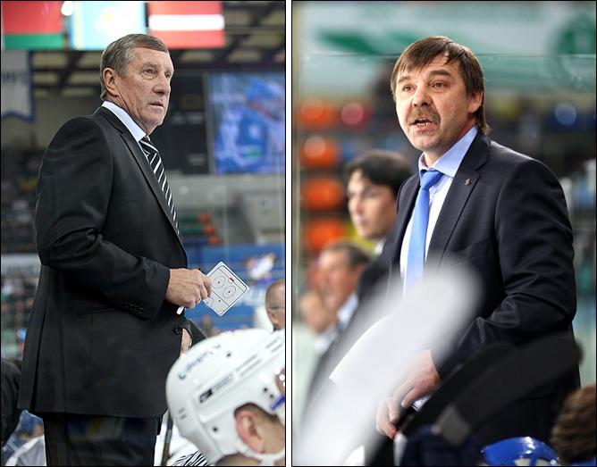 Главные тренеры команд: слева — Валерий Белоусов, справа — Олег Знарок
