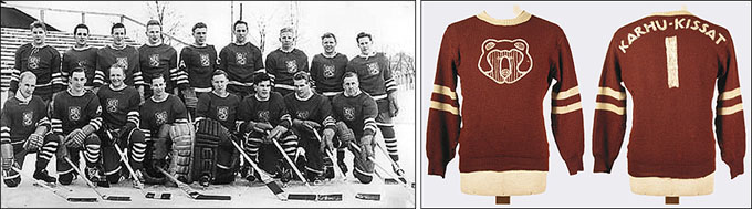 Слева — Унто Виитала в составе сборной Финляндии. Справа — свитер Унто Вииталы в Зале хоккейной славы Финляндии