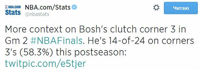 Возвращаясь к вопросу о Крисе Боше. Он в нынешнем плей-офф реализовал 14 из 24 трёхочковых бросков из углов.