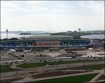 Вид на центральный стадион с высоты птичьего полёта