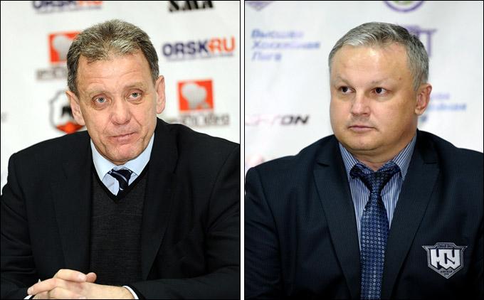 Главные тренеры команд Михаил Варнаков (слева) и Евгений Зиновьев