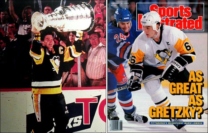 """Слева – Лемье со своим первым Кубком Стэнли. Справа – """"Так же велик, как Гретцки?"""" задавался вопросом """"Спорт Иллюстрейд"""" еще в 1989 году."""