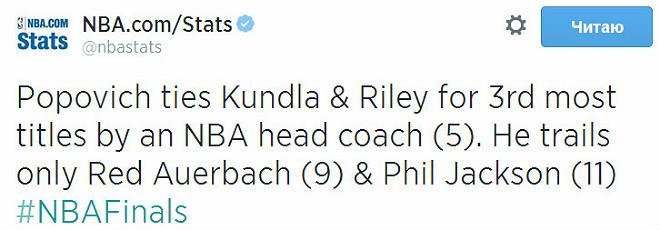 Попович сравнялся с Кундлой и Райли по количеству чемпионских титулов – у всей троицы по 5. Больше только у Фила Джексона – 11 и Рэда Ауэрбаха – 9.