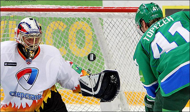 """27.10.2010. КХЛ. """"Cалават Юлаев"""" - """"Северсталь"""" - 1:4. Фото 01."""