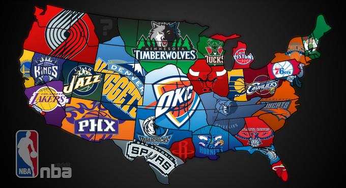 Карта США в клубах НБА