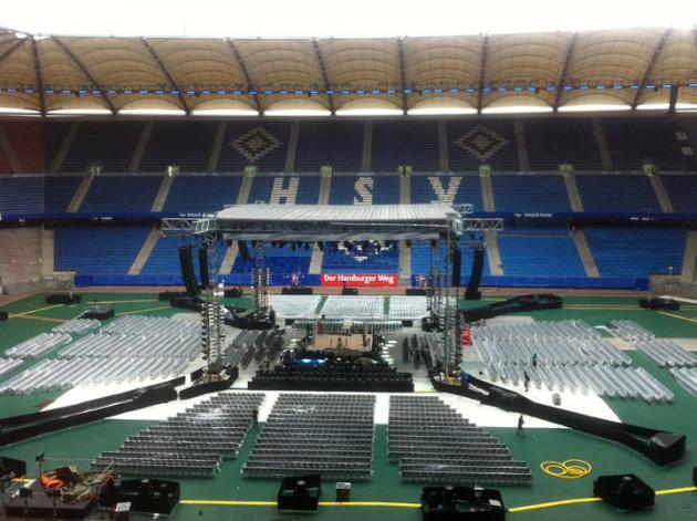 Imtech-Arena за несколько часов до начала вечера бокса в Гамбурге